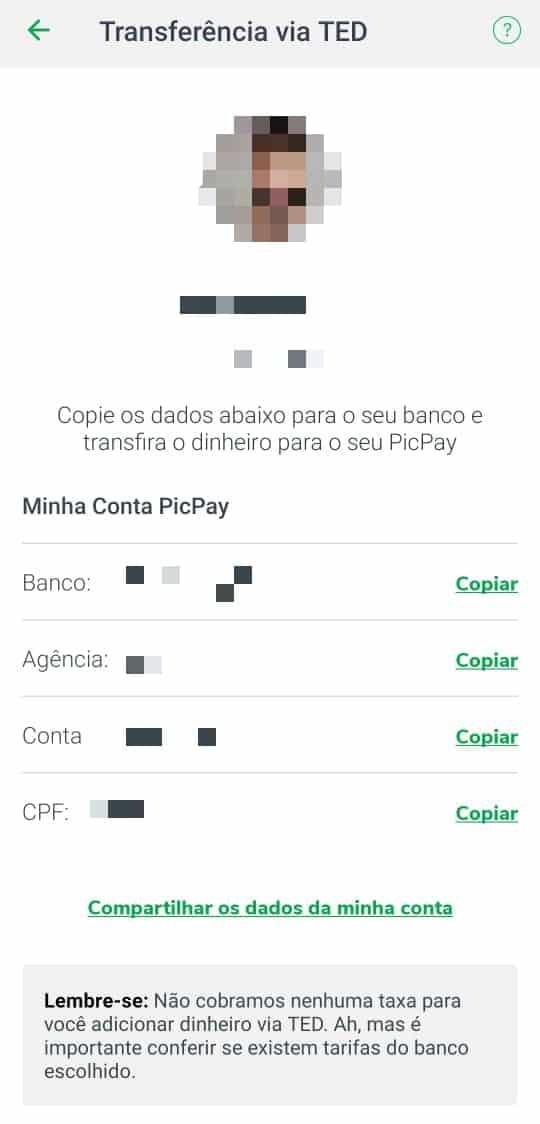 adicionar dinheiro picpay - passo 3