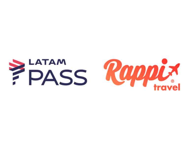 logos da rappi travel e latam pass, que fazem parceria para acúmulo de milhas