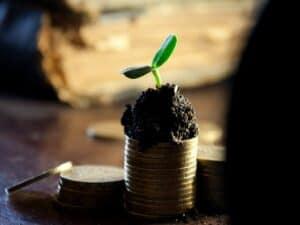 pilha de moedas com uma planta em cima representando a formação de renda passiva