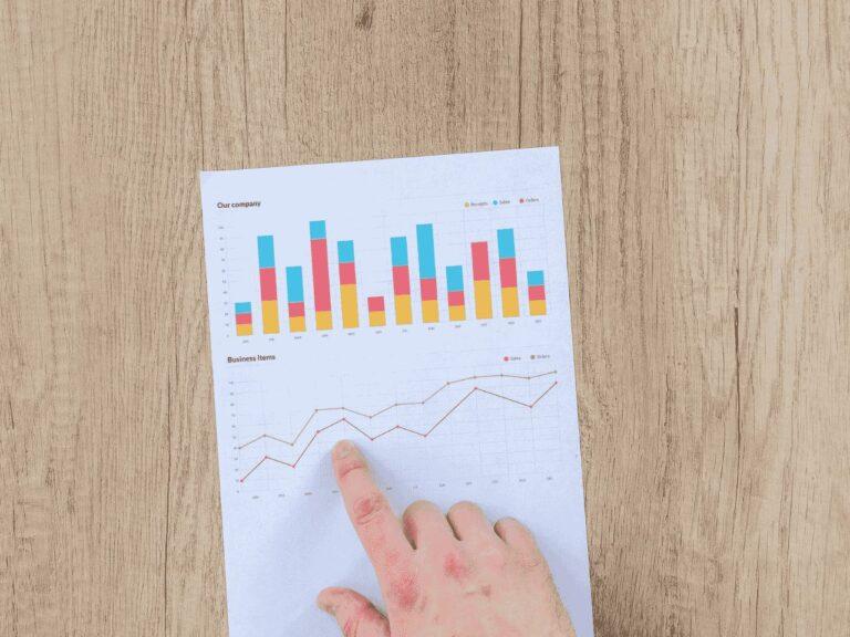 mão apontando para gráfico, representando rendimento com selic a 2%