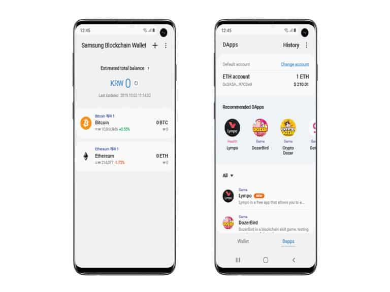 interface da samsung blockchain wallet