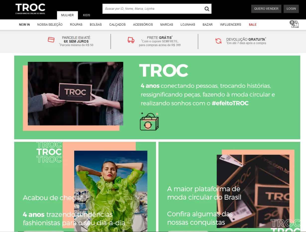 TROC é um site para vender ou comprar vestuário de luxo online