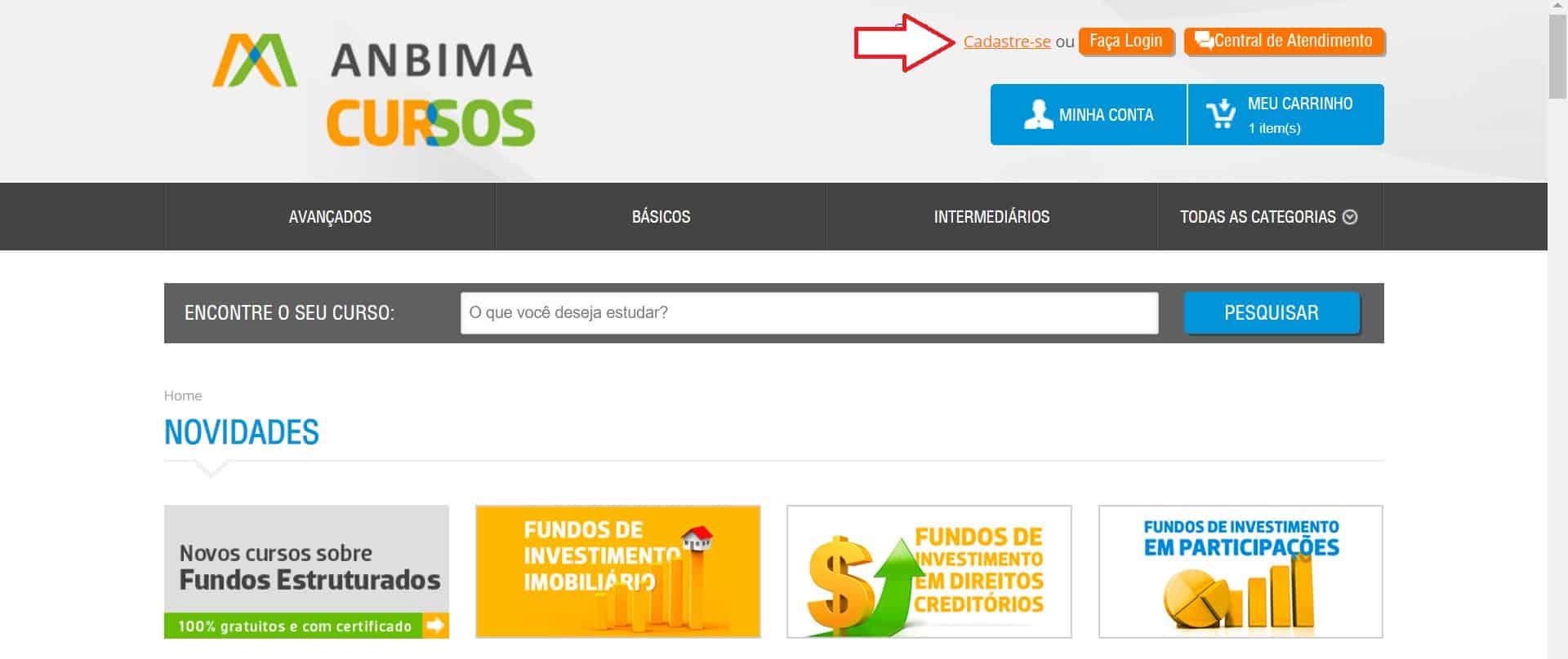 Página inicial para cadastro de participante nos cursos do site da ANBIMA