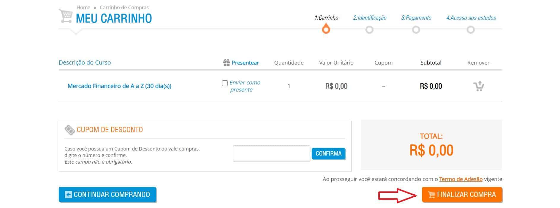 Área de conclusão da matrícula. Como são cursos gratuitos, o valor do carrinho de compras será R$ 0,00