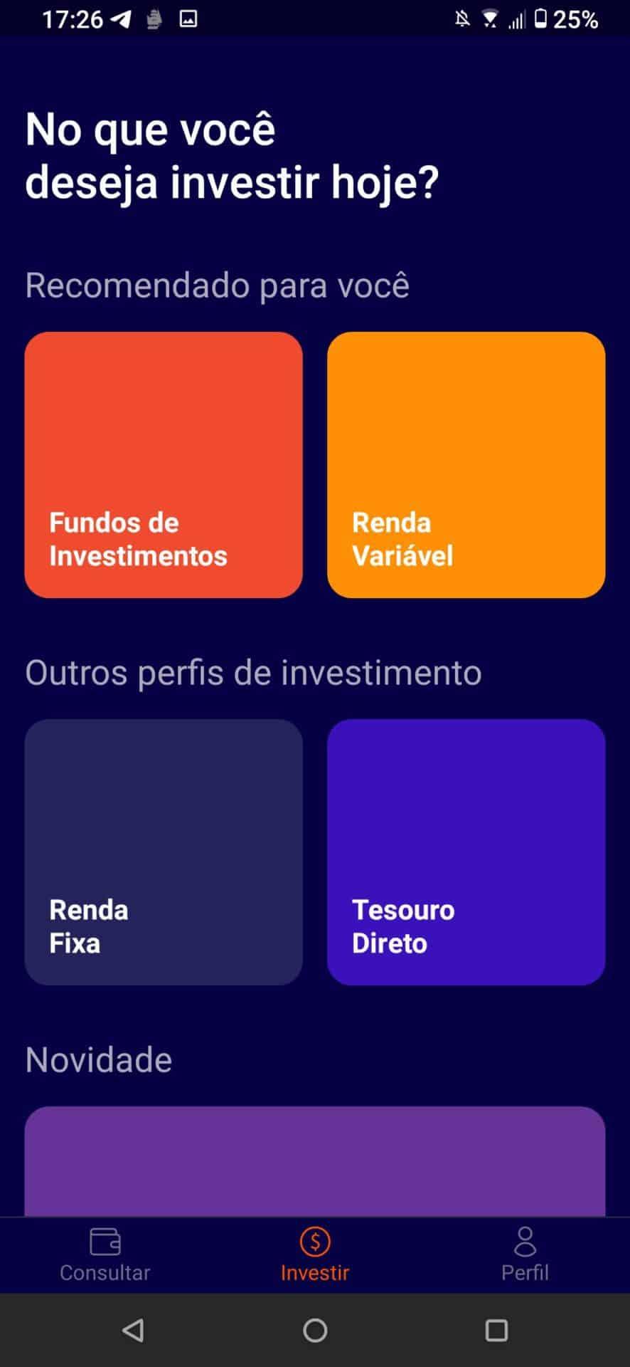 investimentos no aplicativo rico