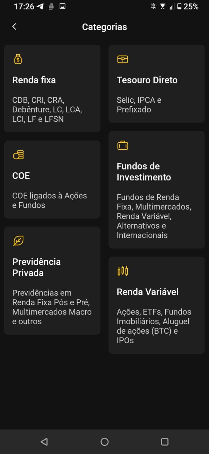 investimentos no aplicativo xp