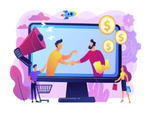 desenho com um monitor em que duas pessoas fecham uma negociação e do lado de fora da tela mostra um homem e uma mulher vendo a imagem. Em volta deles, há um carrinho de compras, moedas, um foguete e um autofalante