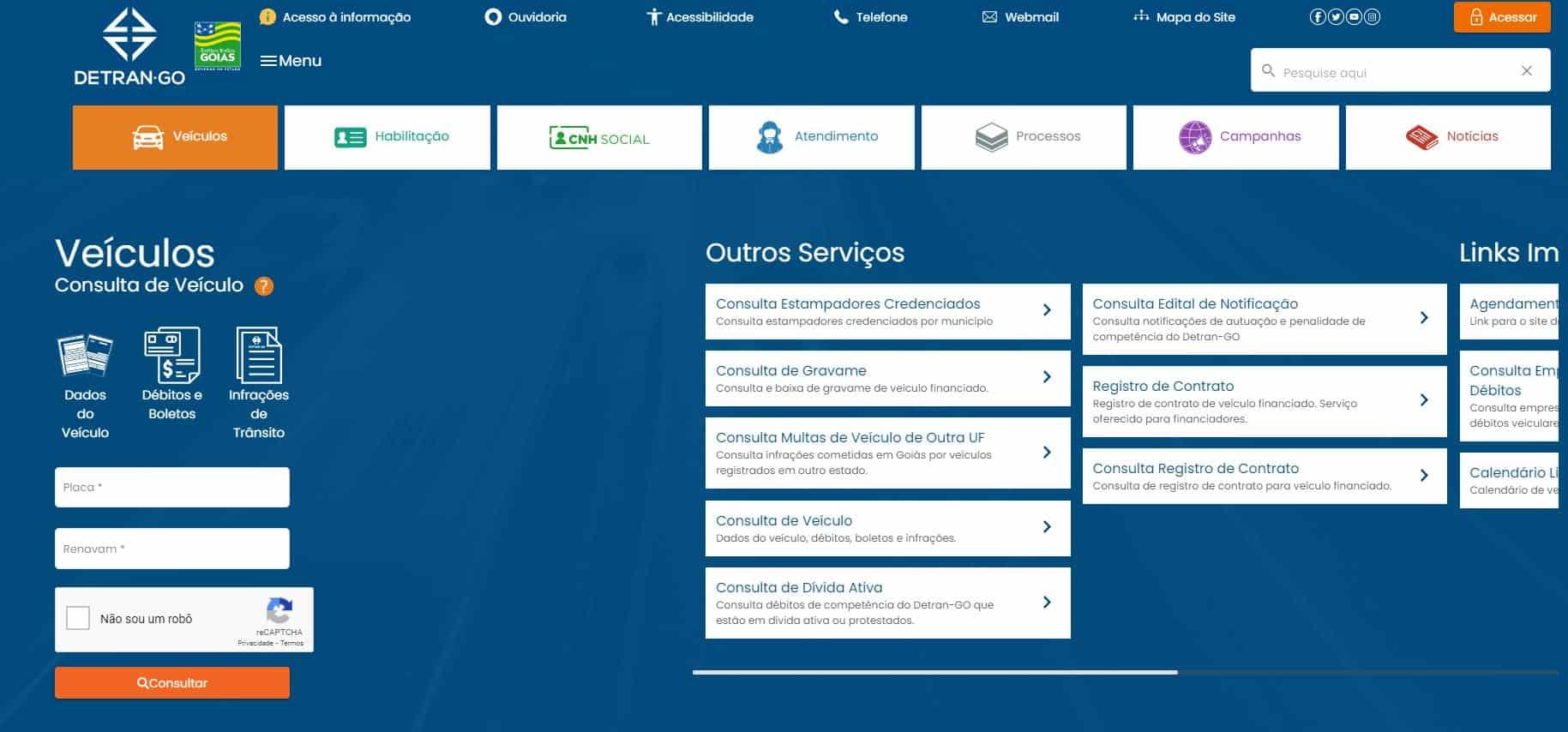 Site DETRAN GO para consulta de IPVA atrasado