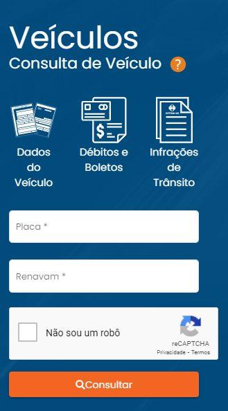 Preenchimento dos dados do veículo para consulta de IPVA atrasado em Goiás