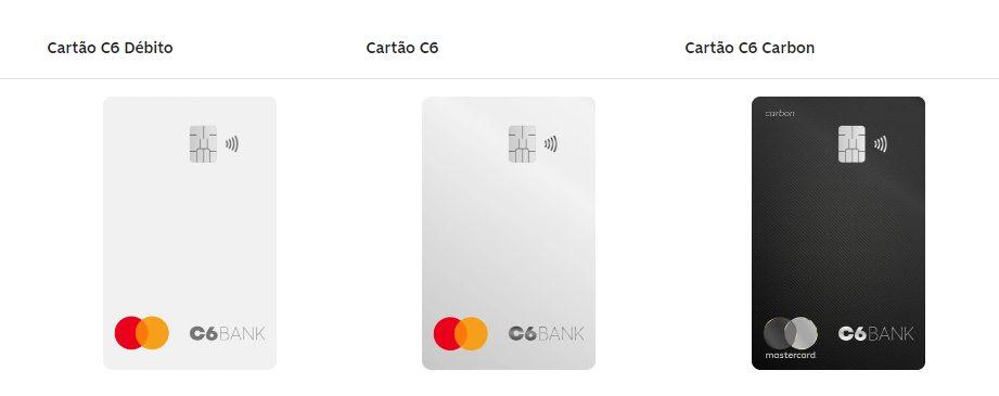 Cartões de débito ou crédito do C6 Bank