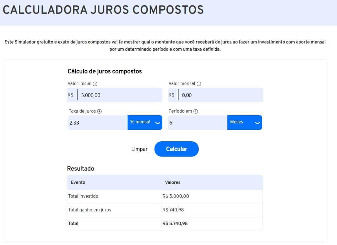 Calculadora do iDinheiro exemplificando o cálculo da taxa de juros compostos