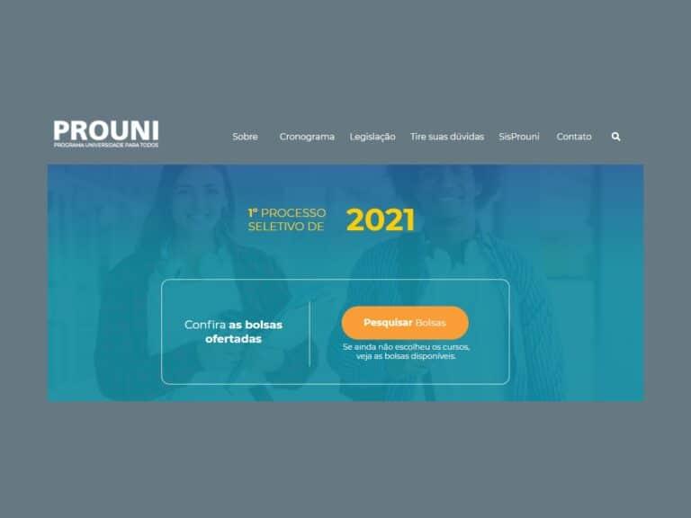 site do prouni 2021