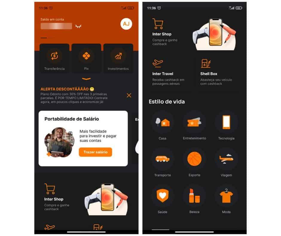 Capturas de tela do aplicativo do cartão Inter
