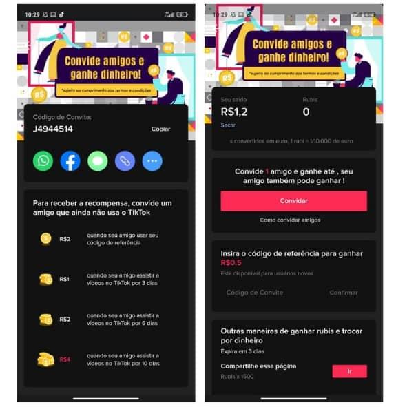 Captura de tela de duas páginas do TikTok que ensinam como ganhar dinheiro no TikTok com convites