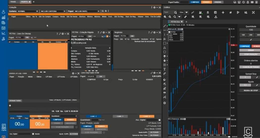 captura de tela do home broker da CM capital