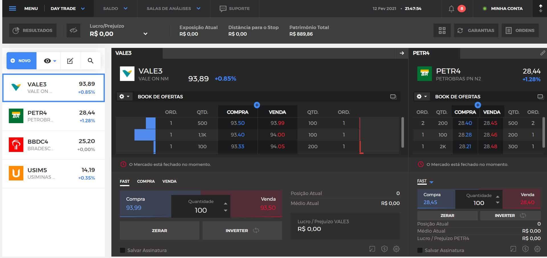 captura de tela do home broker Clear plataforma day trade