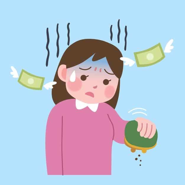 figura mostra uma imagem feminina que perdeu dinheiro