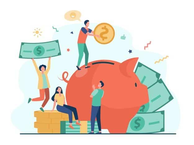 Figura mostra diferentes pessoas colocando dinheiro em um cofrinho
