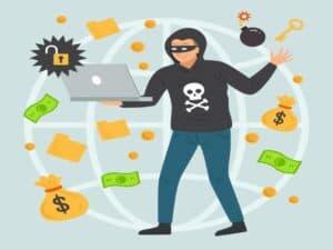 ilustração mostra homem praticando fraudes financeiras
