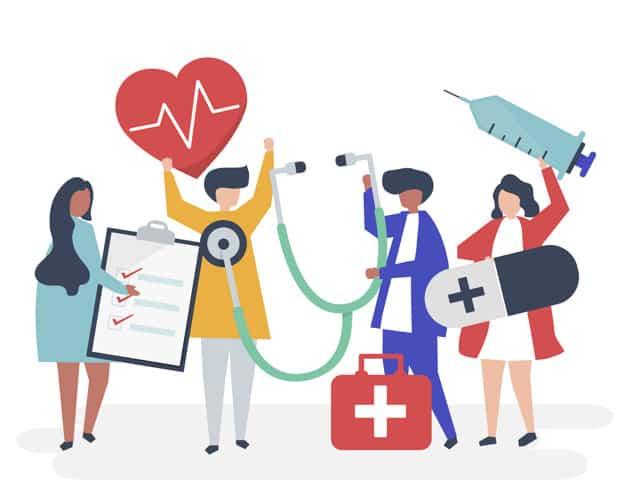 Figura mostra profissionais da saúde