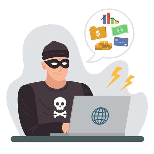 ladrão usa computador para aplicar golpes e fraudes financeiras
