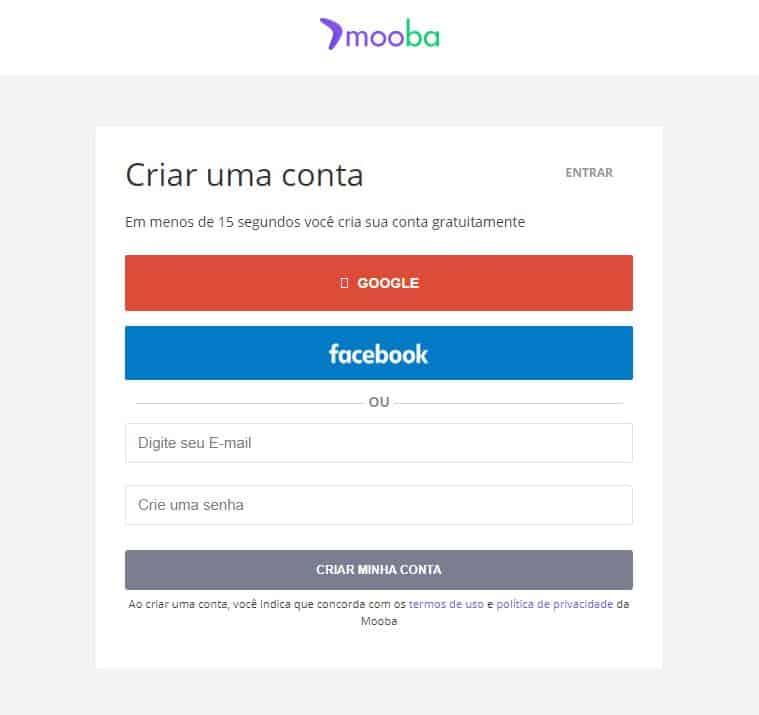 Página do site oficial da Mooba para cadastro de novos usuários
