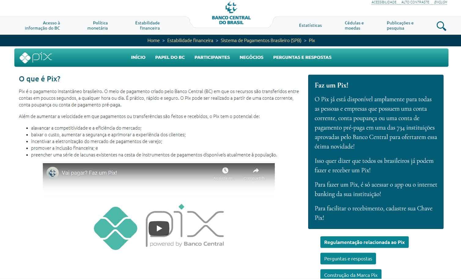 Site oficial do PIX no Banco Central do Brasil