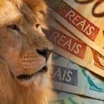 leão e cédulas de real, representando informes de rendimentos