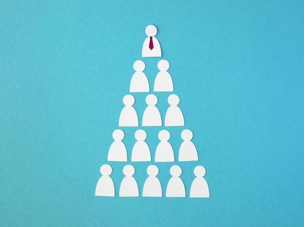 ilustração de uma pirâmide financeira montada com bonecos onde o que está no topo tem maior destaque