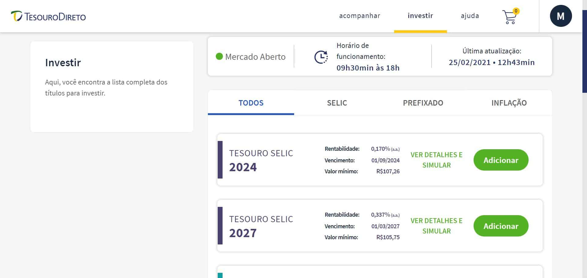 captura de tela dos títulos no portal do investidor