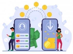 Dois celulares e figuras humanas testam as novas formas de transferências entre bancos