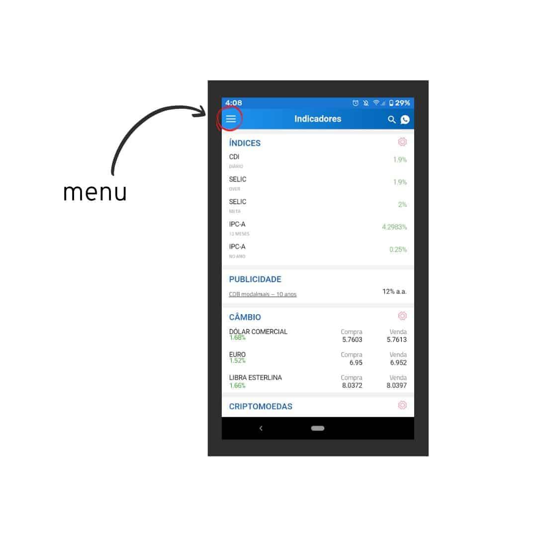 captura de tela do app renda fixa, tela inicial
