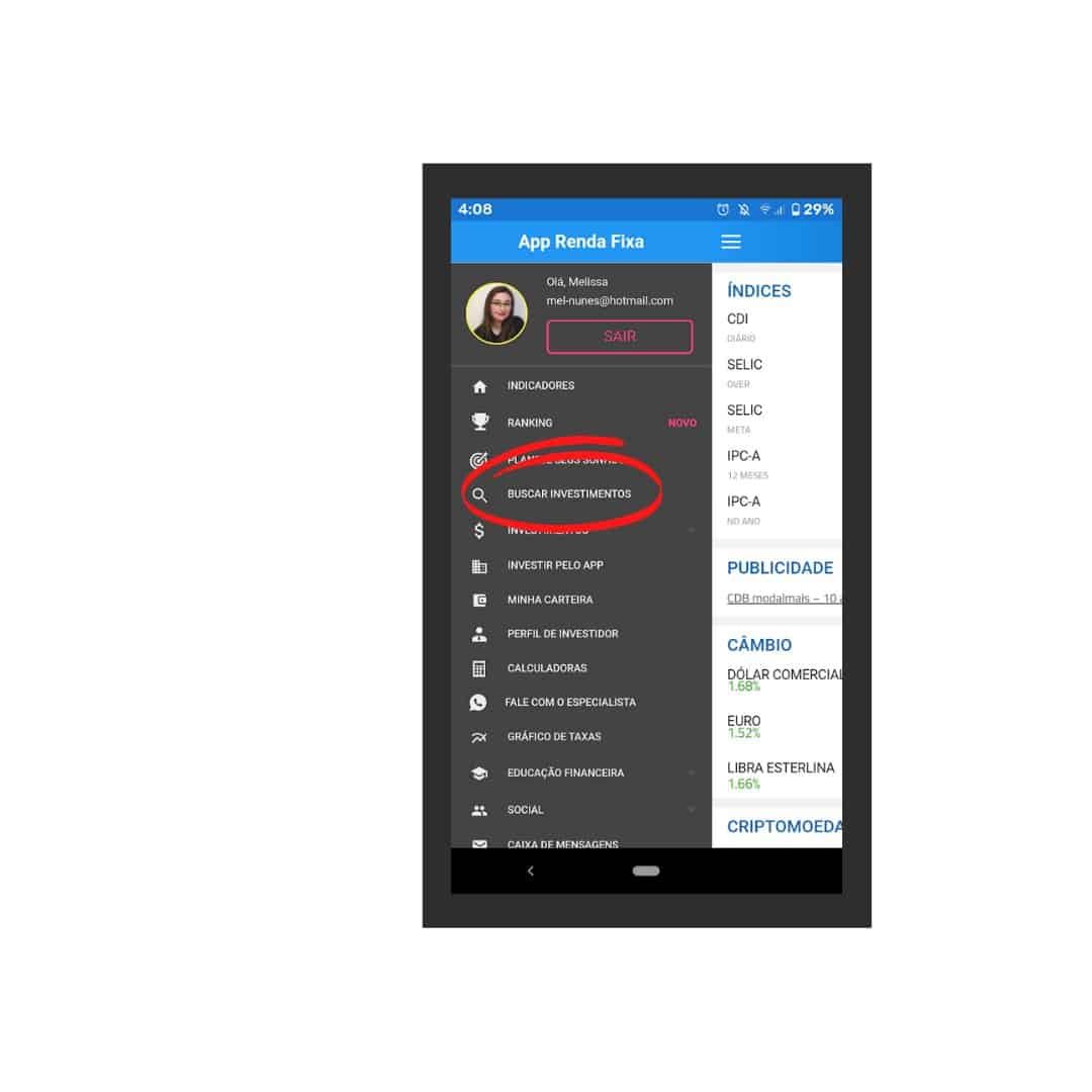 captura de tela do app renda fixa, menu lateral