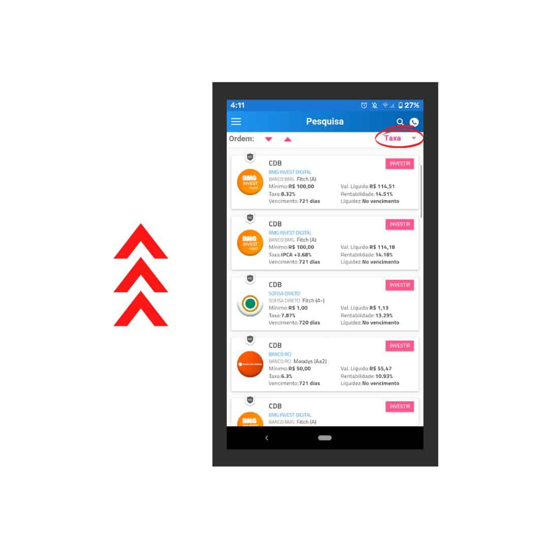 captura de tela do app renda fixa, tela mostrando investimentos filtrados na busca