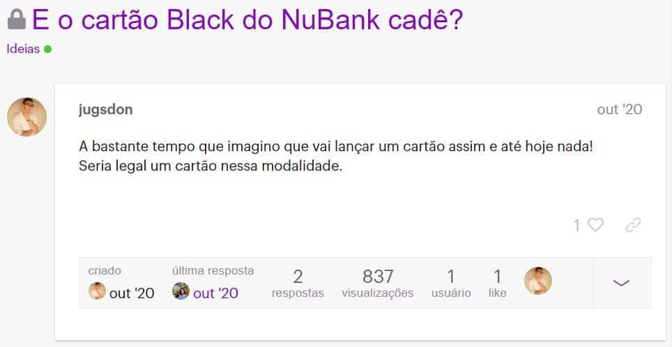 print de um comentário na NuCommunity sobre o cartão Black da Nubank