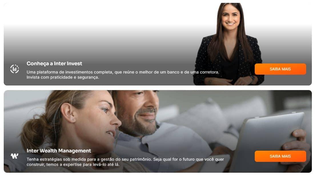 Página do site do Banco Inter que indica suas soluções de investimentos e consultoria