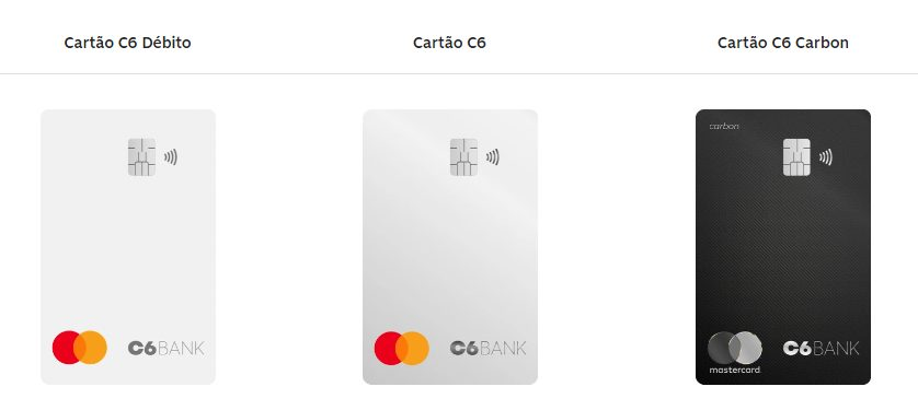 imagem do site da C6 Bank que mostra as opções de cartão de crédito para suas melhores contas digitais