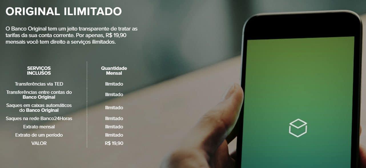 página do site do Banco Original mostra suas tarifas em 11/03/2021