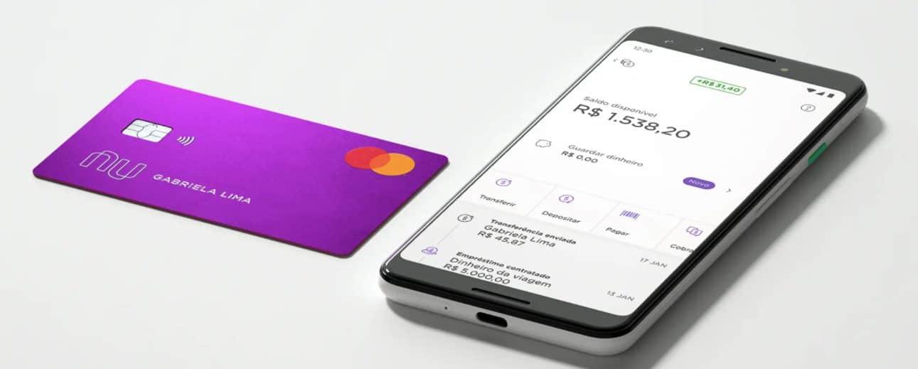 página do site da Nubank que destaca um smartphone na tela de