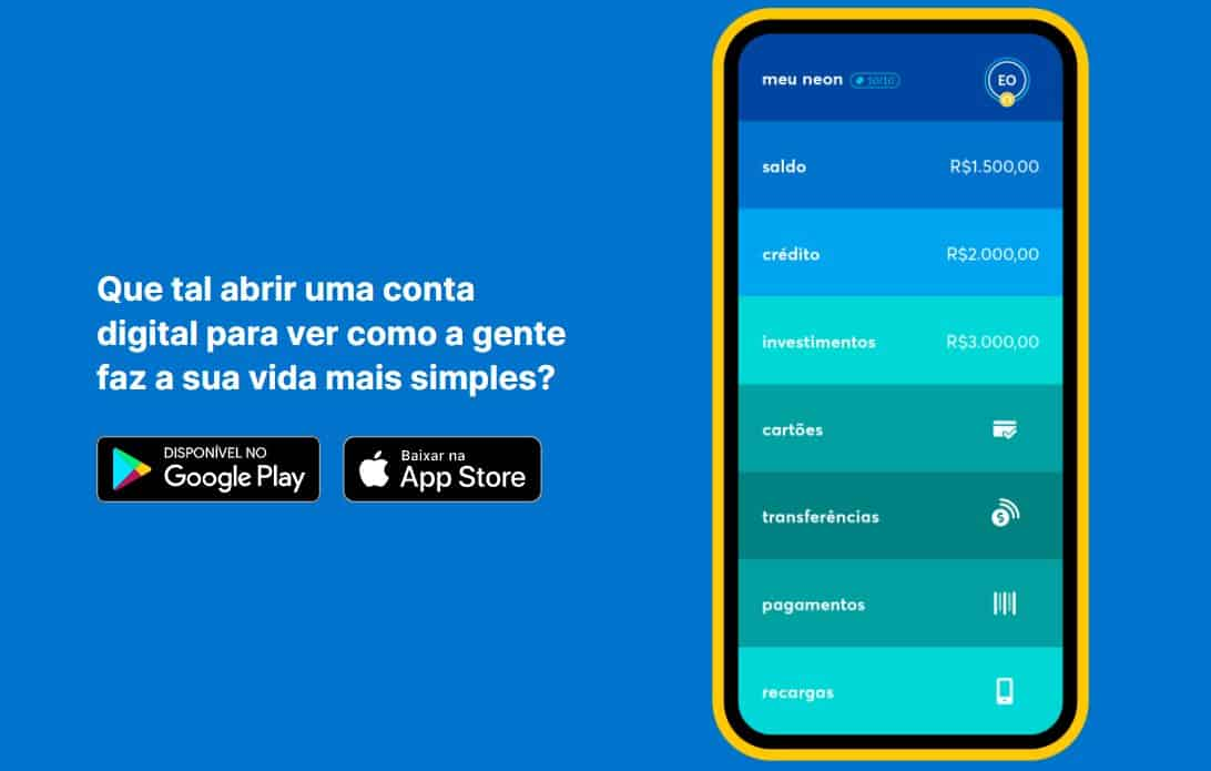 página do site da Neon que mostra um smartphone na tela de gestão da conta digital