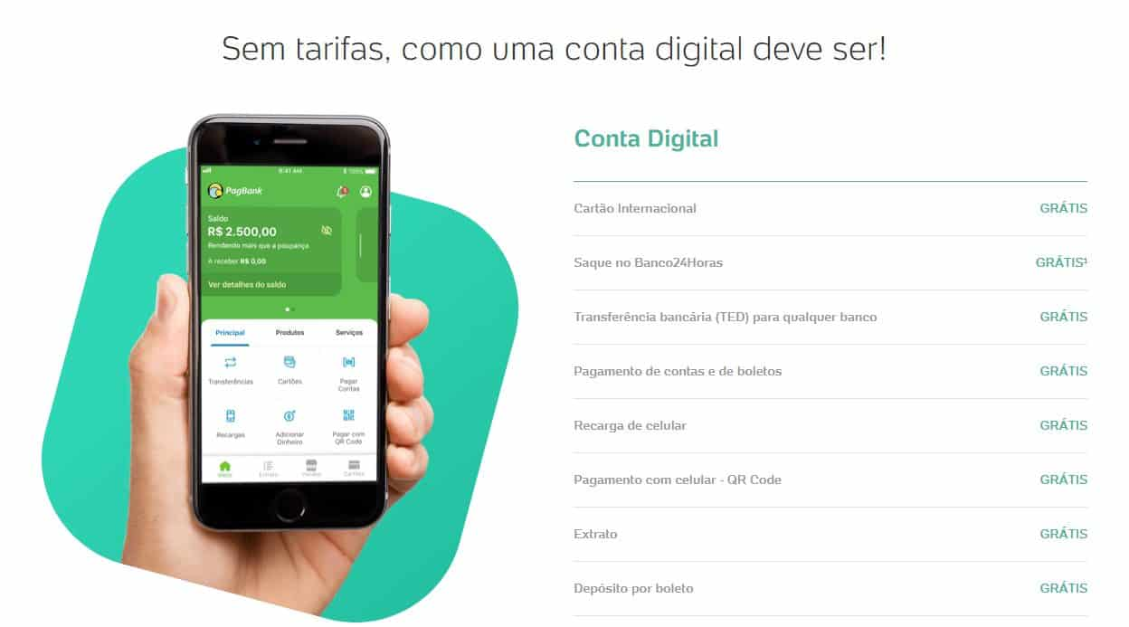 Tabela de tarifas da Pagbank que é uma das melhores contas digitais em 2021