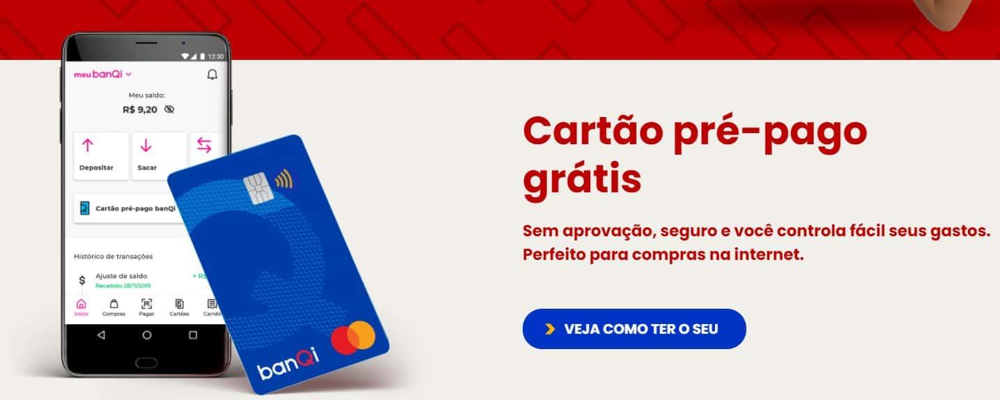 página do site do banQI, que está no comparativo das melhores contas digitais, e mostra a oferta de cartão pré-pago