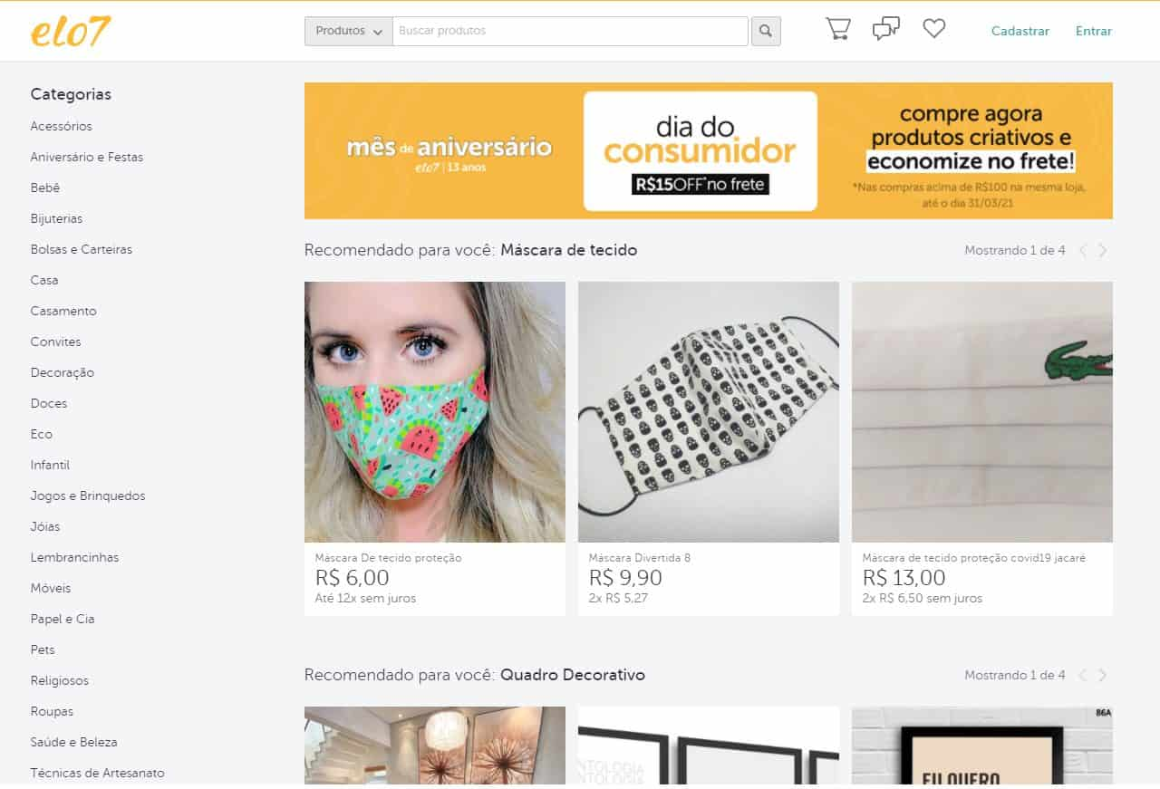 Site Elo 7 para vender artesanato por todo Brasil
