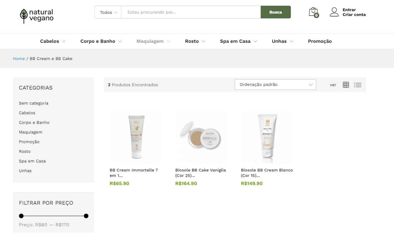 Página do site Natural Vegano com exemplo de alguns produtos