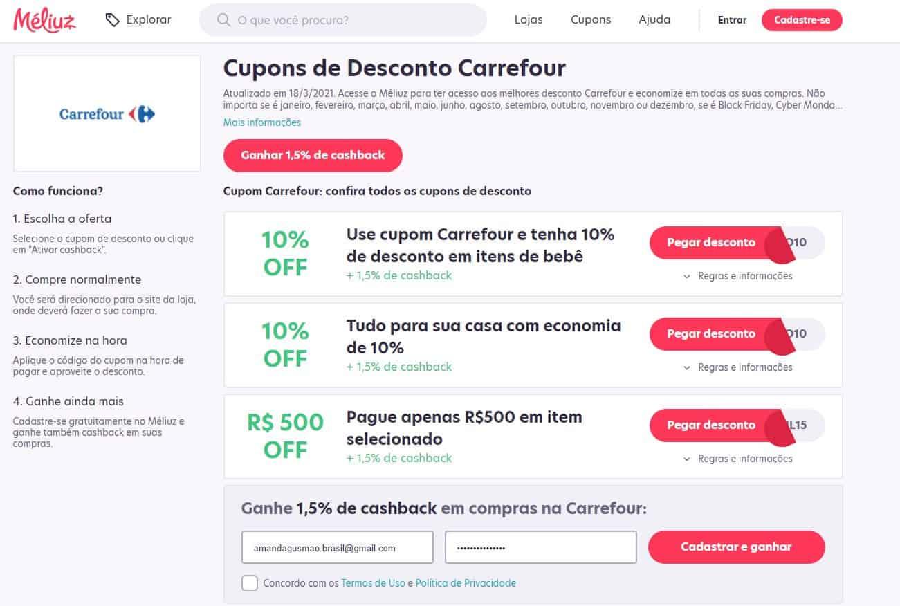 Exemplo do cashback Carrefour no site do Méliuz