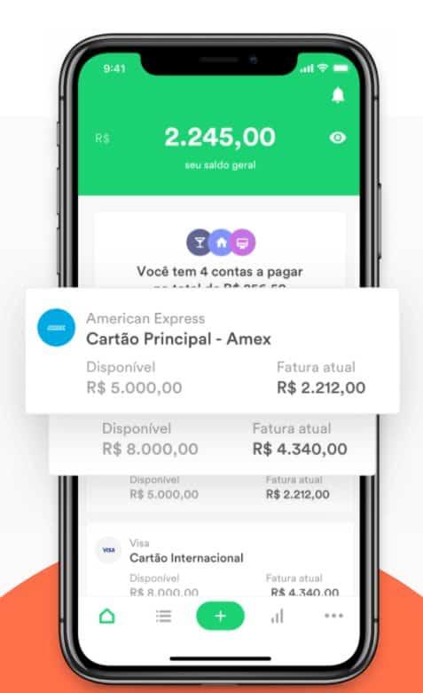 print da tela do celular com o aplicativo Organizze , que é um dos melhores apps para controle financeiro pessoal