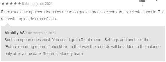 print de um comentário de usuário do app de controle financeiro Monefy é respondido em inglês