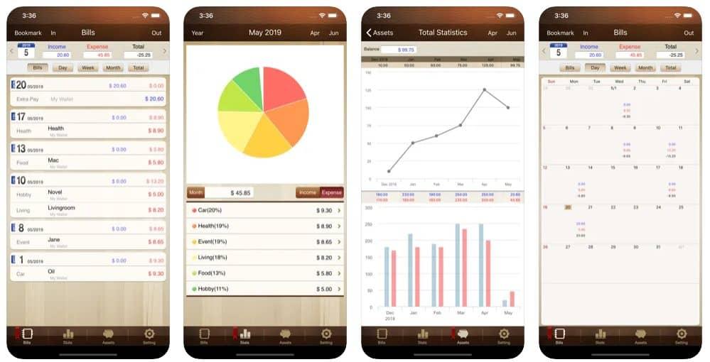 Telas do Money Manager para iPhone, que é um dos 17 melhores apps para controle financeiro pessoal