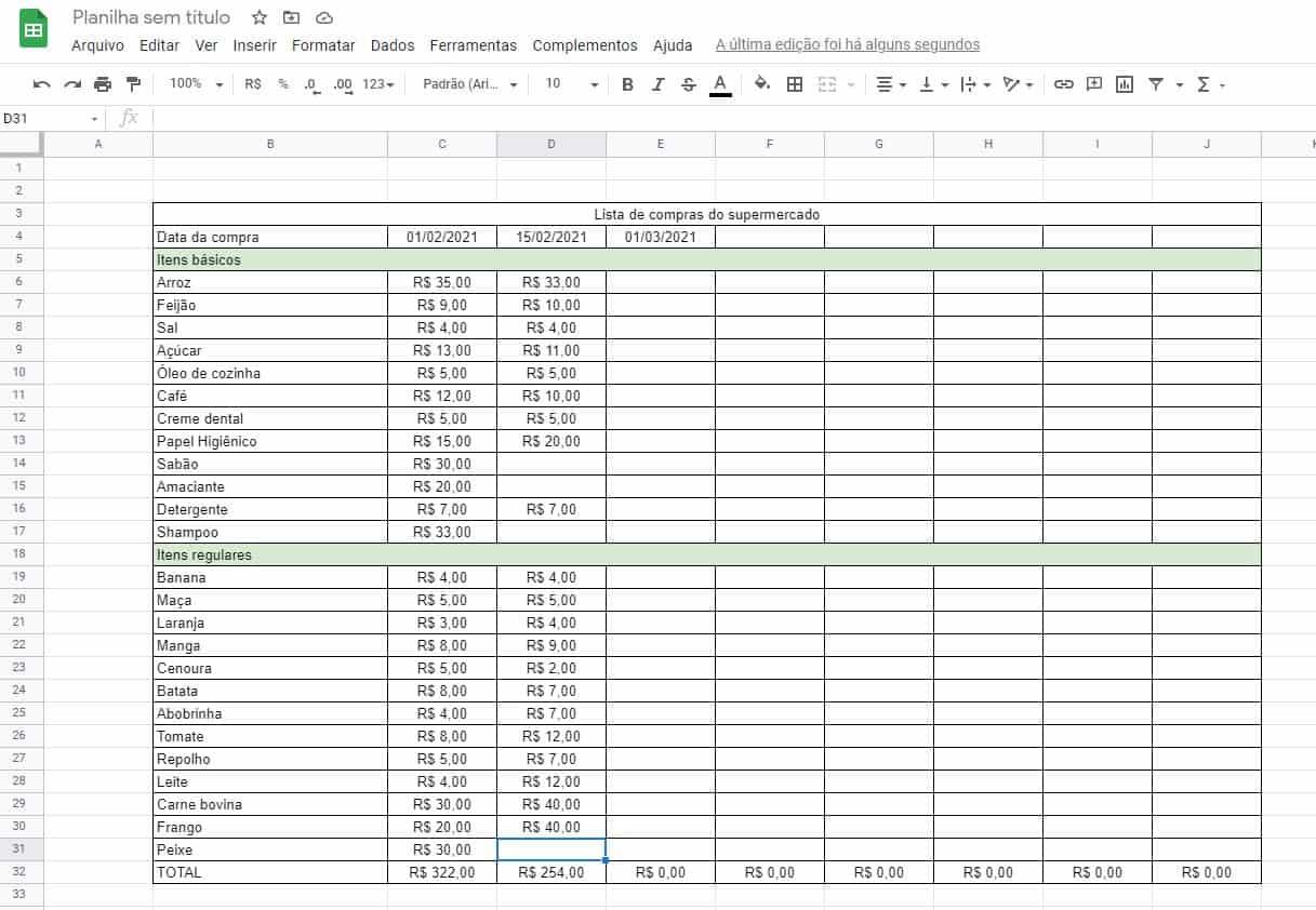 Planilha do Excel para controle de preços das listas de compras de supermercado