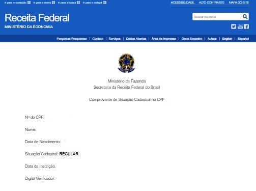 tela da receita federal para regularizar CPF e receber auxílio emergencial 2021